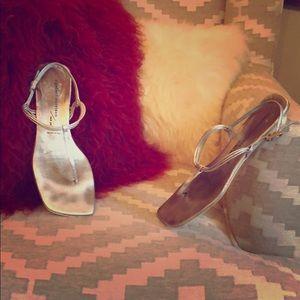 Sigerson Morrison Metallic Silver T-Strap Sandal